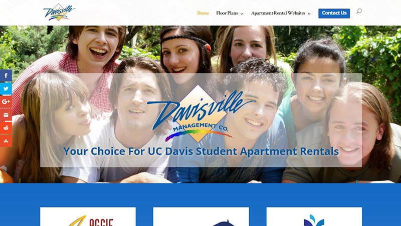Website design services for Davis Apartments for Rent